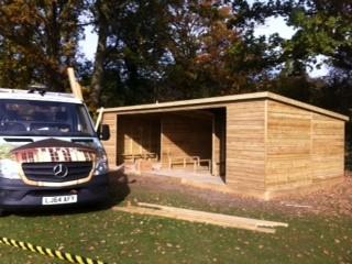Milbourne Scholl Changing Pavilion Shed, Titan Garden Buildings, Ripley, Surrey
